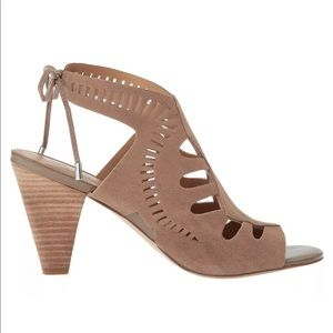 NEW 7 Franco Sarto Taupe Leather Sandal Heel